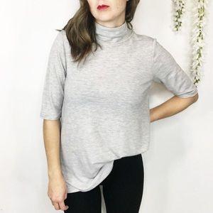 LOFT mock neck shirt sleeve top light gray